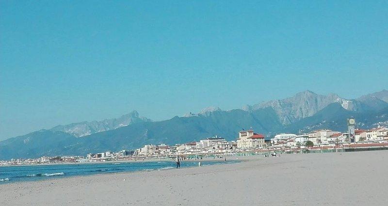 Ferienwohnung mit Terrasse nur 300 m vom Sandstrand, casa vacanza a Viareggio