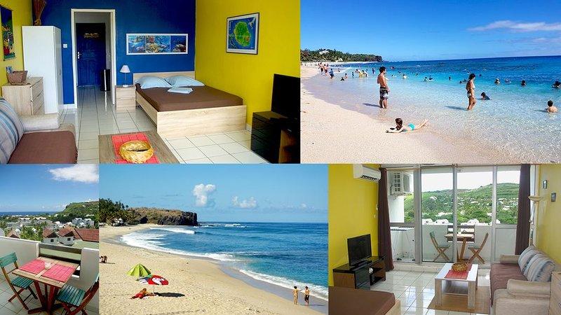 Charmant Studio avec belle vue mer & plage Boucan Canot. Situation idéale !, location de vacances à Arrondissement de Saint-Paul