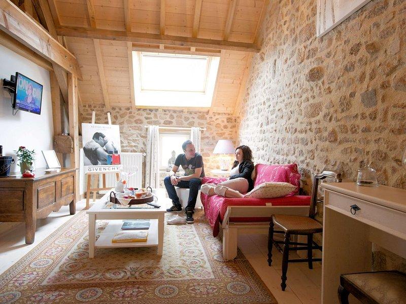 Chambre d'hôtes .SUITE MARY CASSAT. Salon, Tisanerie pour petit dej' SPA, holiday rental in Lourdoueix Saint Pierre