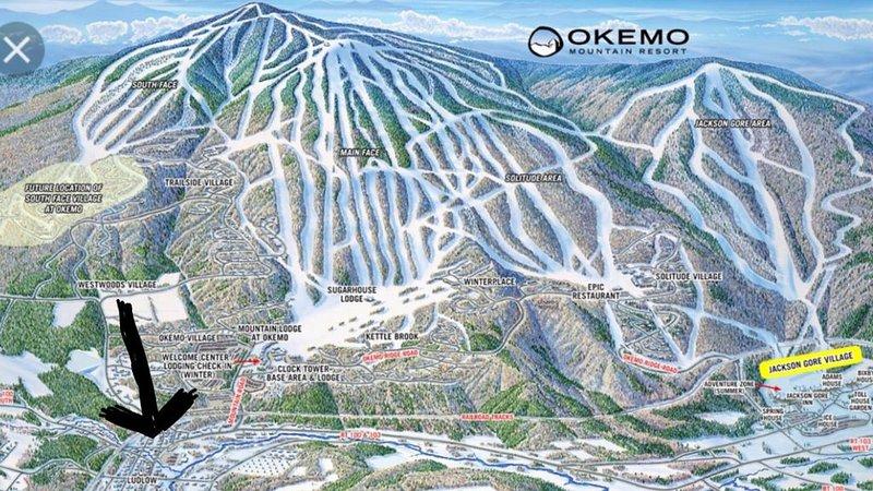 Placering av hus på Okemo Ski Trail karta.
