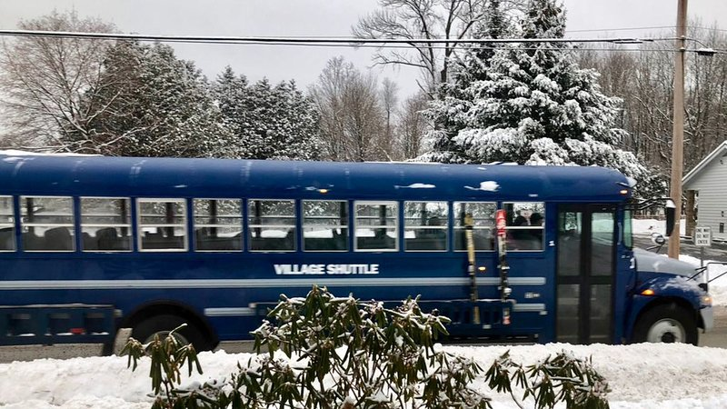 Ski shuttle stops at end of driveway to take you to the slopes!