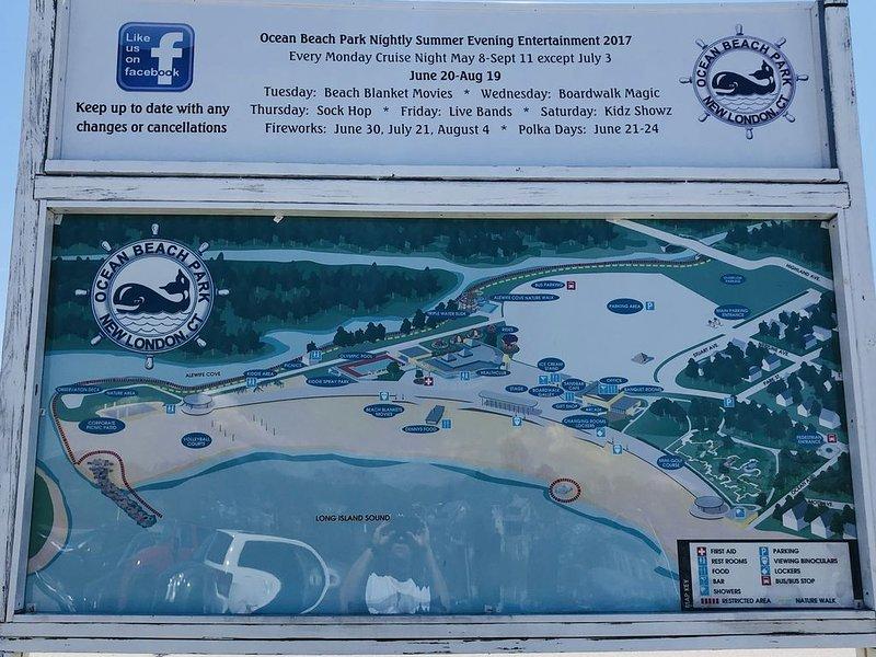 Map of Ocean Beach with seasonal events