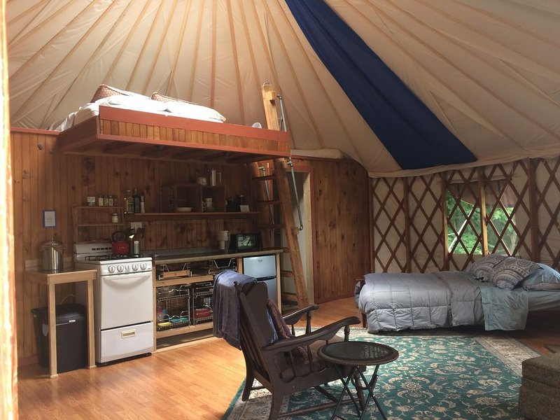 Secluded & Clean Yurt, nestled in woods and gardens, holiday rental in Trumansburg