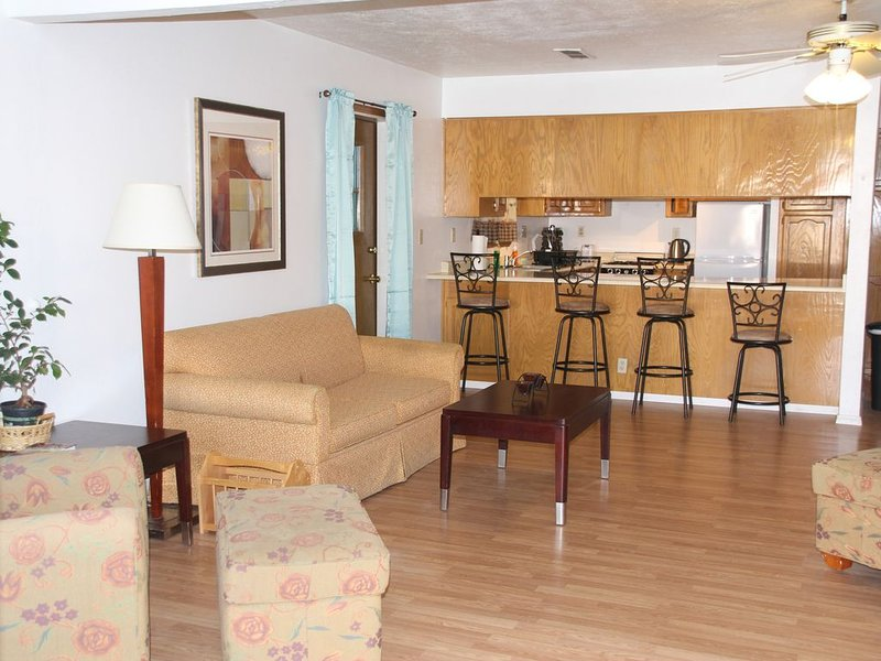 Mirando a la sala de estar y área de cocina de la puerta principal.