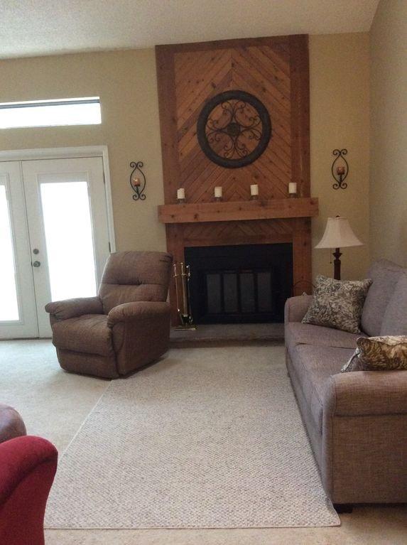 New sleeper sofa + fireplace