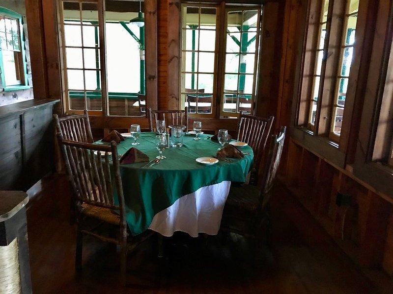 Enjoy dinner out in the rustic, restored Kawanhee Inn. 1920 classic!