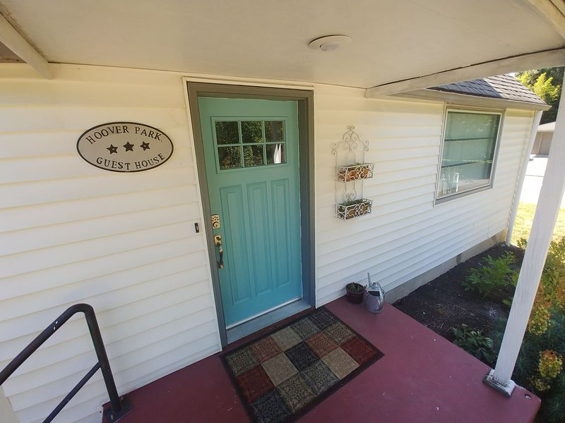 Front porch with keyless entry system, allows easy access.