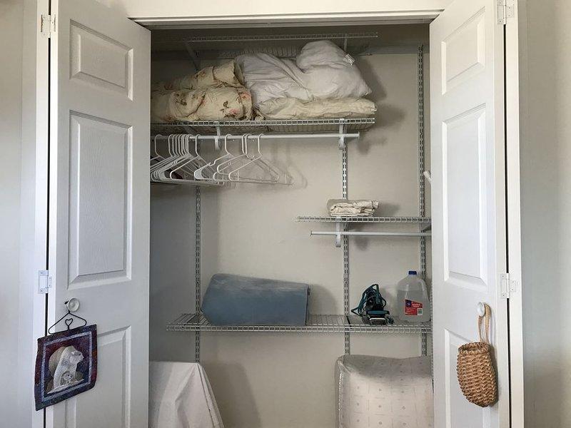 Large closet with organizer.