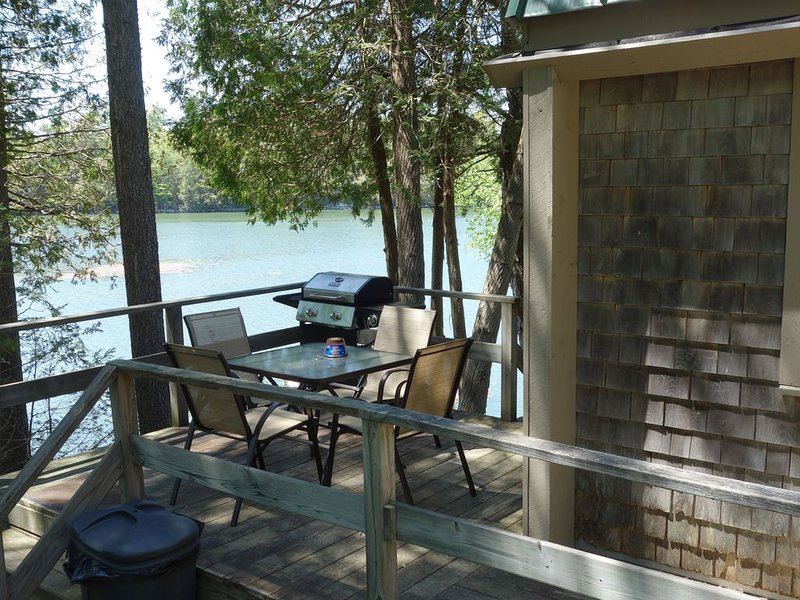 deck with view of river