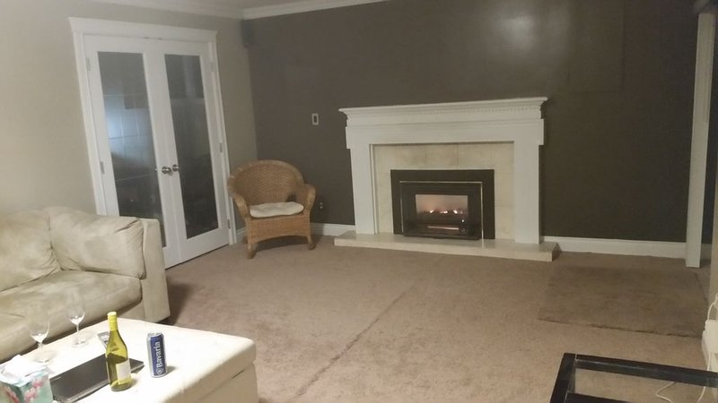 Gas fireplace in the sitting area
