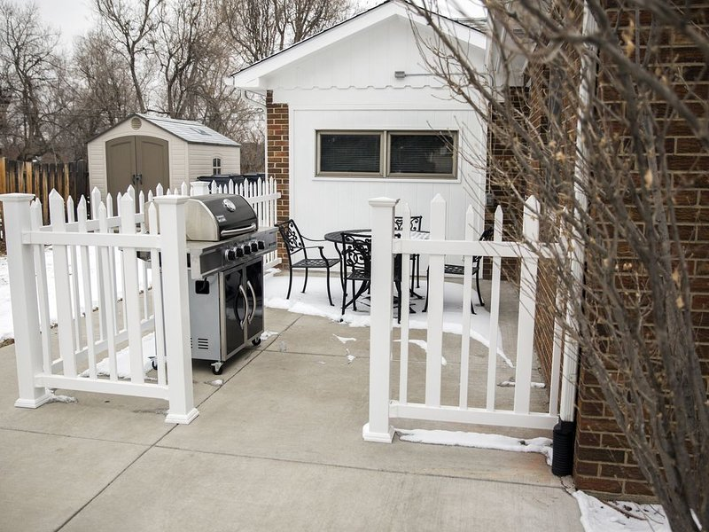 Side Patio with 5-Burner Propane Grill