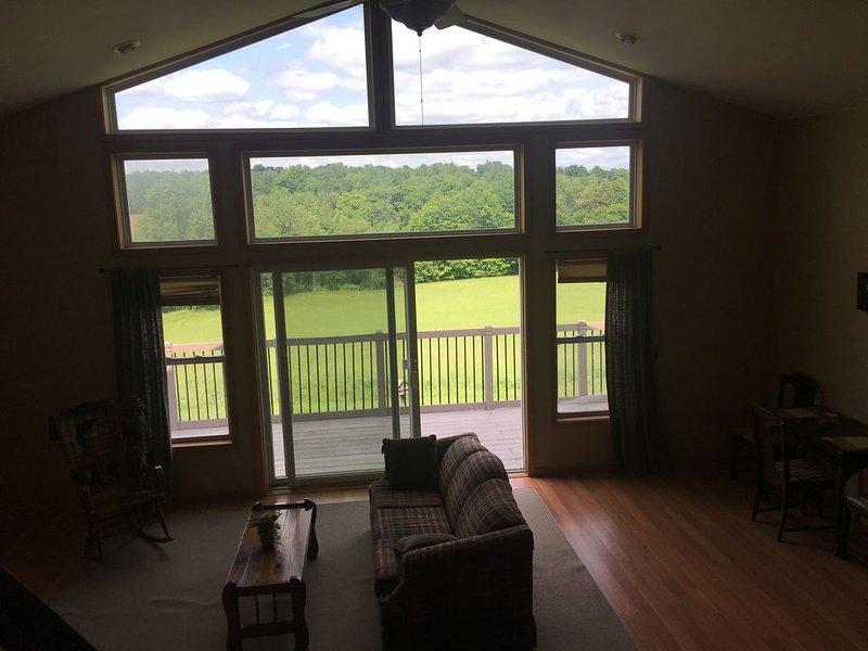 Loft guardando verso il basso su open space e fuori dalla finestra al landscap Estate