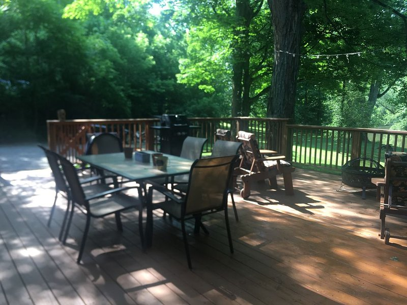 Enjoy an outdoor fire in the fire pit on the deck
