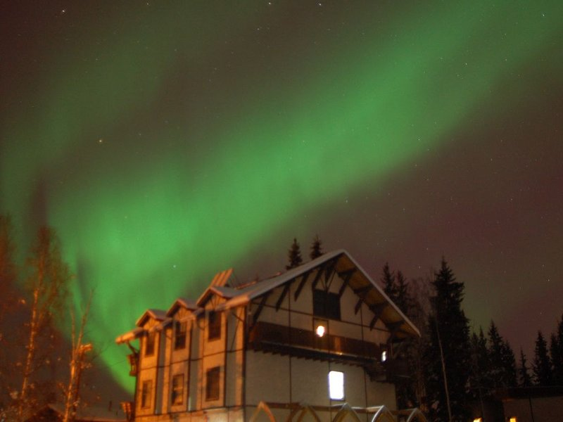 Aurora visible over penthouse suite