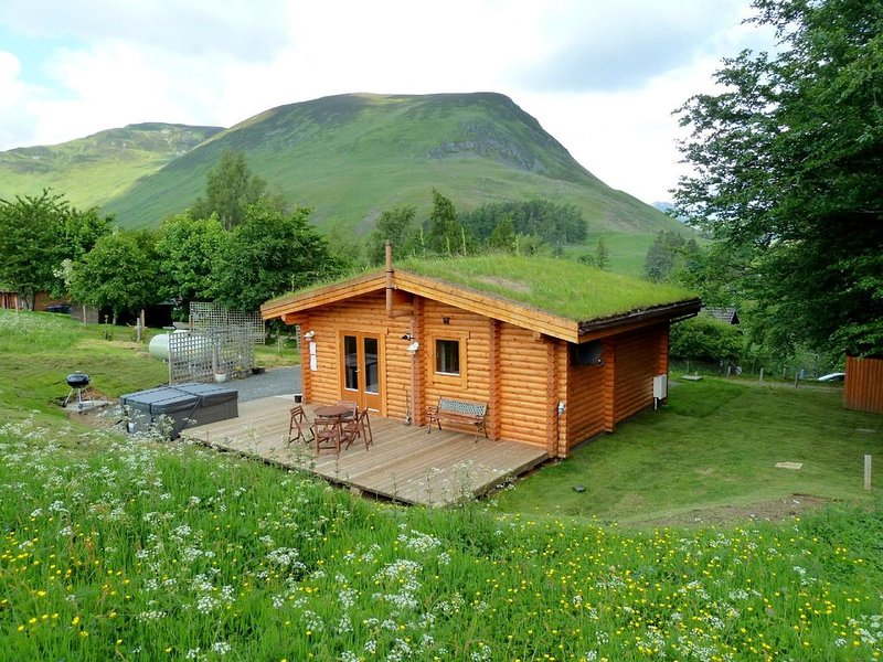 Log Cabin with Hot Tub & Sauna for 2/3 | In the Cairngorm National Park | Great – semesterbostad i Kirkmichael