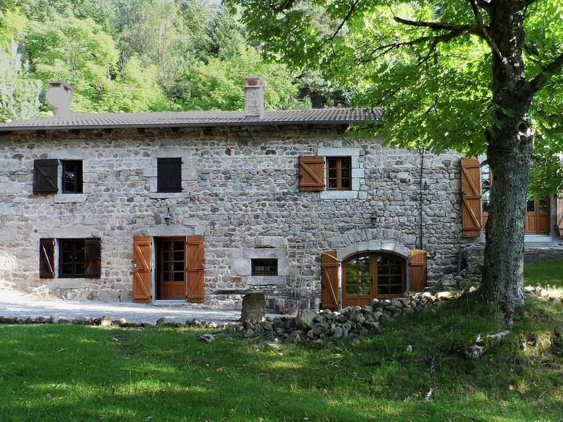 Beautiful stone farmhouse in mountain forest setting, alquiler vacacional en Tence