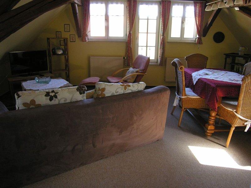 Ferienwohnung im Dach für zwei mit rustikalen Charme und Blick zum Wehrgang., location de vacances à Windelsbach
