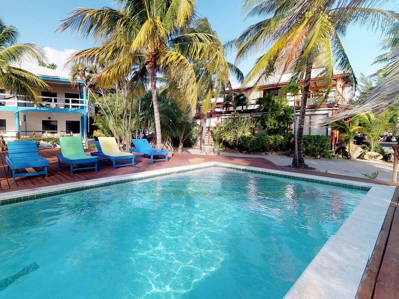 Beachfront, ocean view getaway w/ shared pool, hammock, free WiFi & partial AC!, vakantiewoning in Placencia
