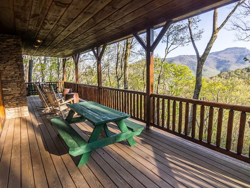 Covered deck with mountain views