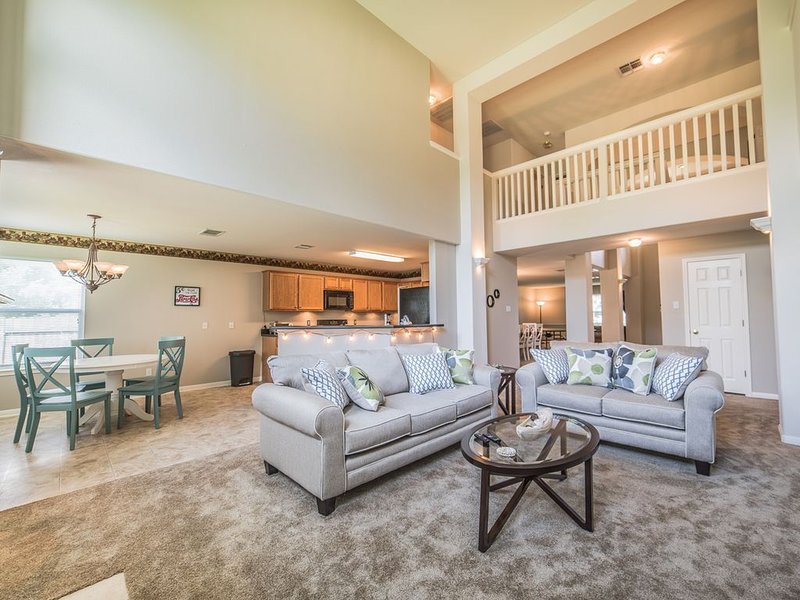 Spacious, open living room/kitchen space