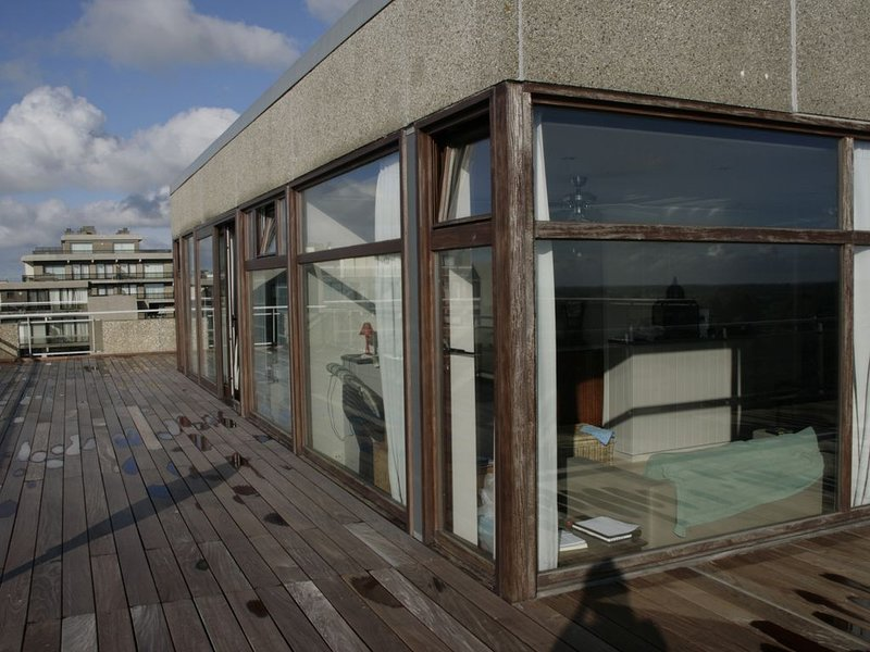 PENTHOUSE APPARTMENT WITH FRONTAL SEAVIEW FROM ALL ROOMS, holiday rental in Ghyvelde