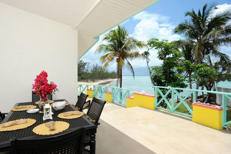 Patio with ocean view dining