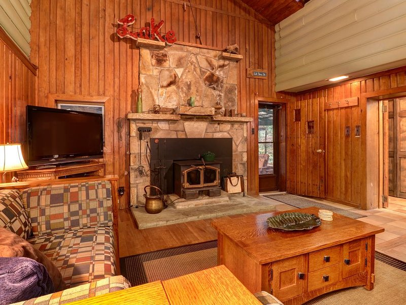 Split-lakefront home w/ private hot tub, dock, firepit, porch & views, vacation rental in Swanton