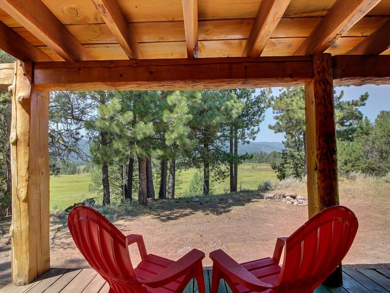 Secluded mountain view family cabin w/ deck, firepit, gas fireplace & more!, location de vacances à Lake Fork