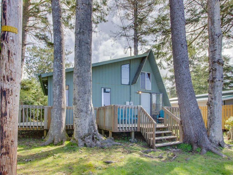 Cozy A-frame cabin with large deck, 5-minute walk to beach - dogs welcome!, holiday rental in Garibaldi