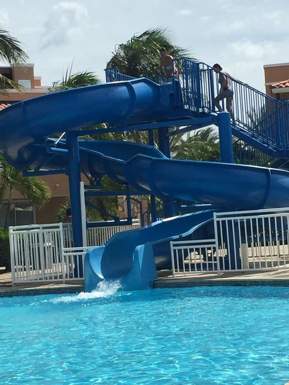 The pool slide.