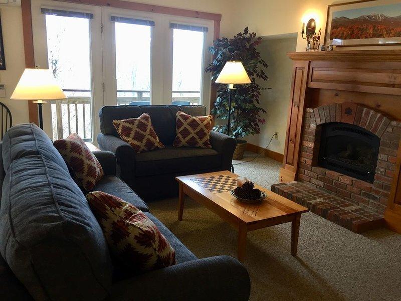 Le salon a un tout nouveau canapé / canapé-lit et une chaise surdimensionnée à partir d'octobre 2018.