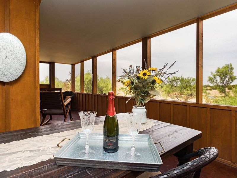 A bottle of bubbly awaits your arrival!