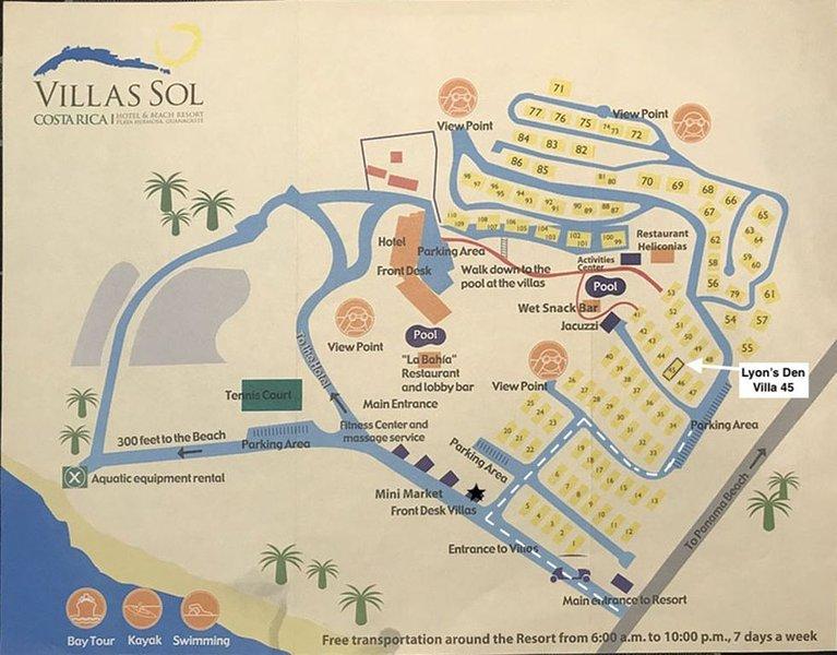 Mapa de VIllas Sol Beach Resort.