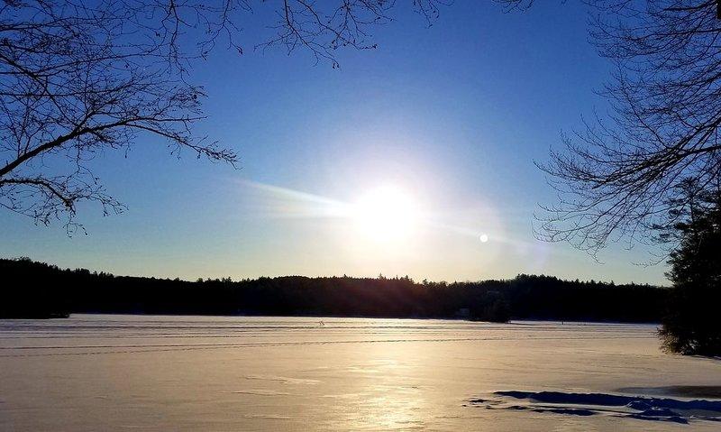 Belle vue d'hiver depuis le pont.
