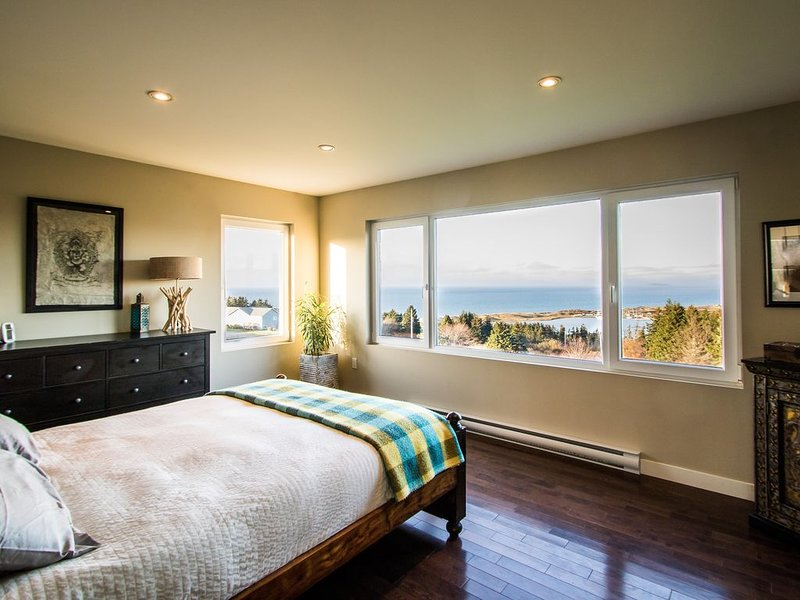 The master bedroom has  the best view in the house, overlooking the sea & Cabot