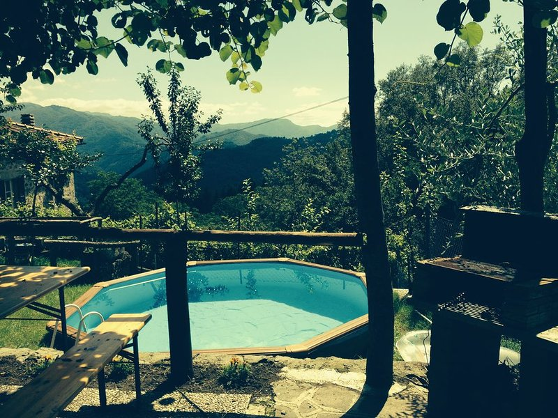 Tuscan House and garden with stunning views near Bagni di Lucca, location de vacances à Coreglia Antelminelli