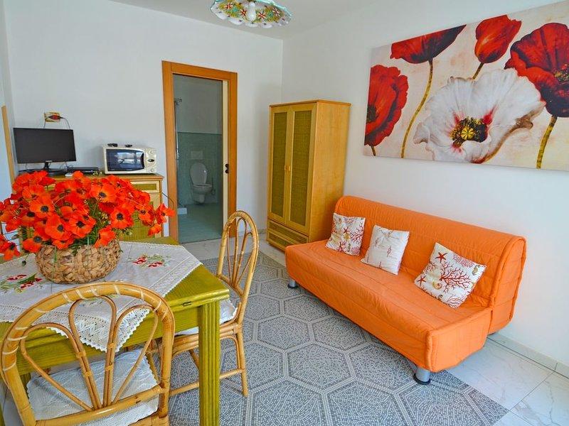 Appartamento con ampio giardino e parcheggio auto a pochi passi dal mare, holiday rental in Marina di Felloniche