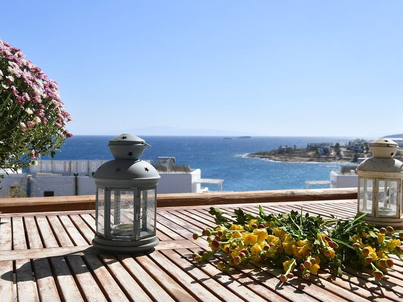 3 floor villa with sea view all around, 1 minute by foot from the beach, holiday rental in Nea Chryssi Akti