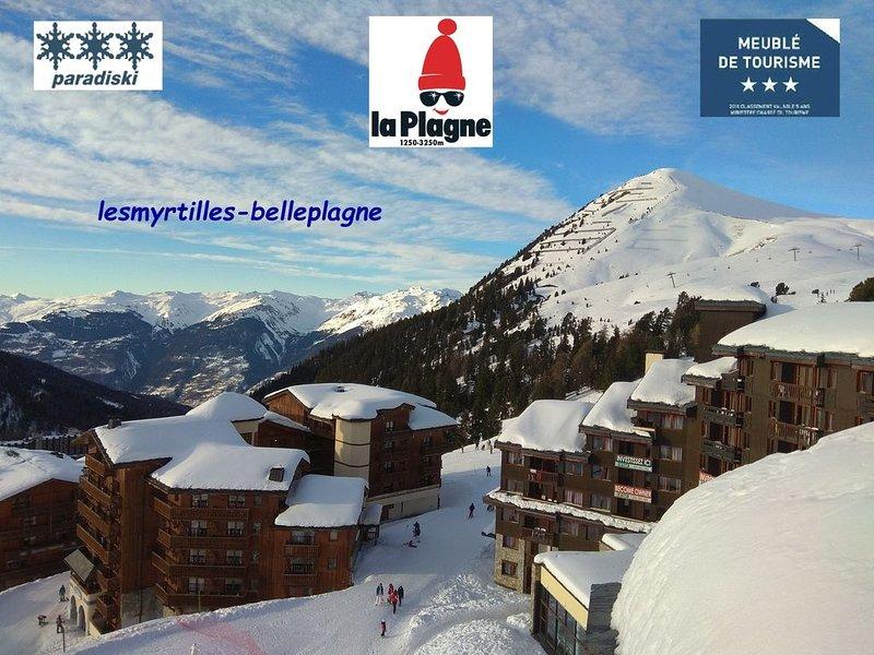 Duplex BELLE PLAGNE 43m², grand séjour, classé 3 * et 3 cristaux Paradiski, holiday rental in Belle Plagne