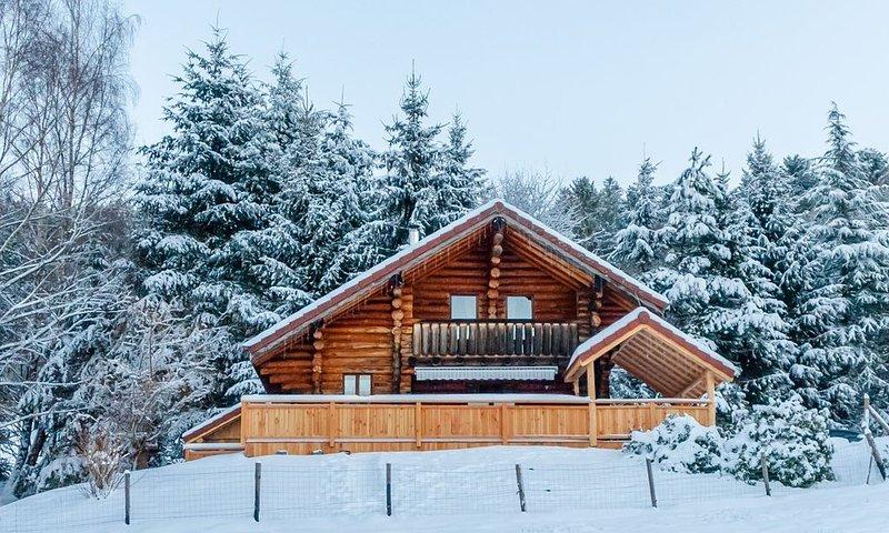 Chalet en rondins, terrasse avec kota-sauna, bain nordique et accès piscine, holiday rental in Basse-sur-le-Rupt