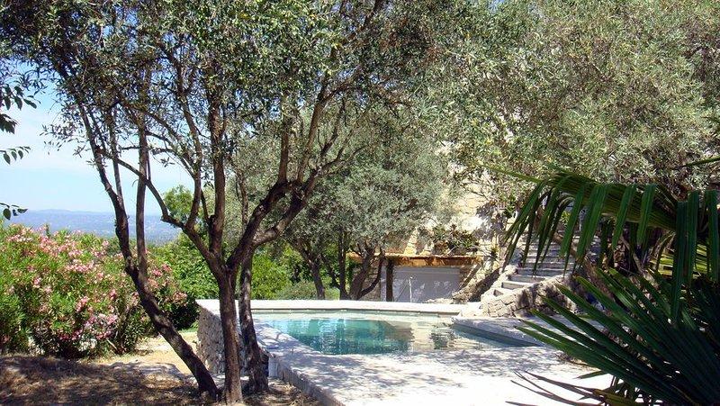 Vista de la piscina y casa de campo.