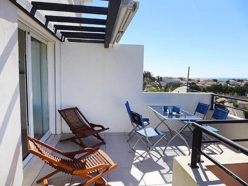 Beau T3 duplex avec terrasse et vue sur mer, alquiler vacacional en Narbonne-Plage