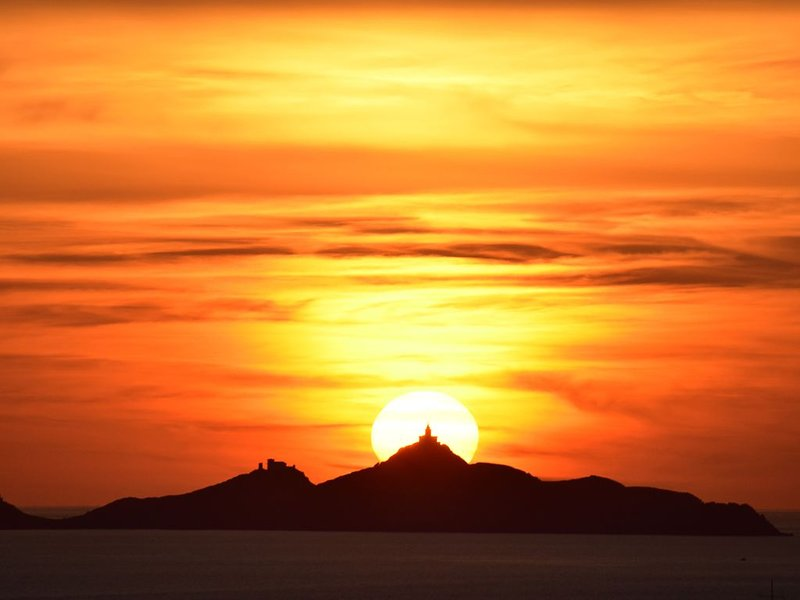 Sun setting on the Sanguinaires Islands