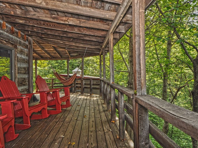 A 2200 sq/ft lodge on a picturesque 16-acre wooded mountain property, location de vacances à Hot Springs