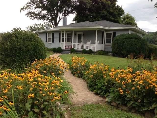 summer flowers - entrance porch