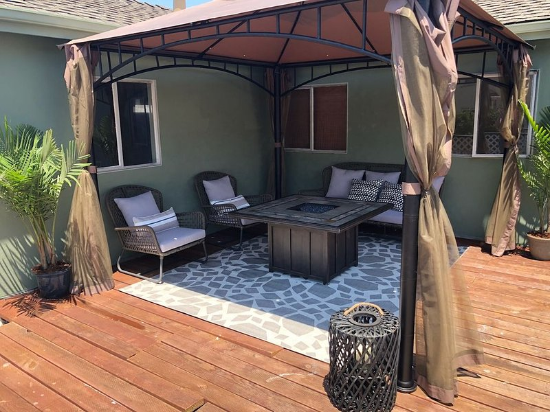Patio with Gazebo and Gas Fireplace area for relaxation