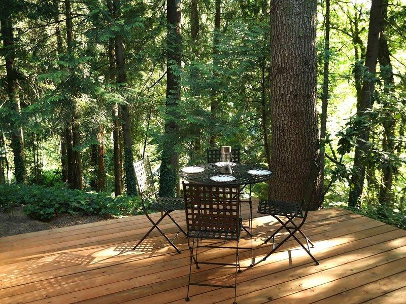 Ons eigen terras met rustgevende uitzicht op het bos. Perfect om te eten of iets te drinken