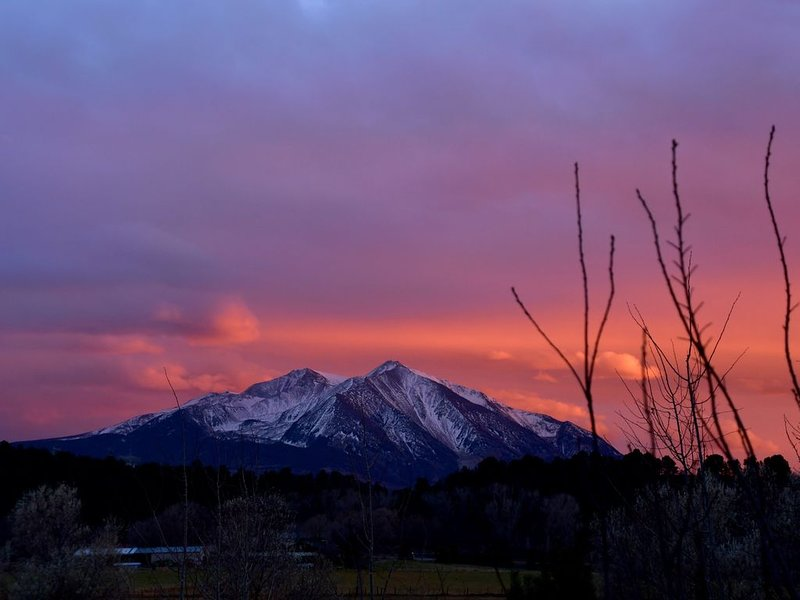 Sunset on Mt. Sopris captured from front yard.