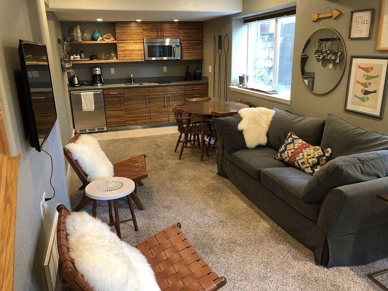 Lounge and half kitchen.