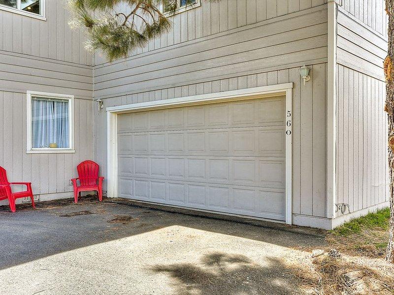 Garage for parking or sport equipment storage.